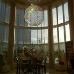 The hotel lobby with one of the beautiful crystal chandelier