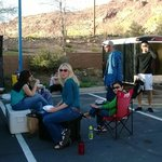 Our parking lot picnic at Motel 6 in Moab, UT.