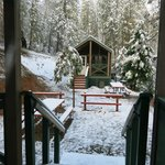 The same cabin across the way - it snowed!