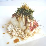 Steamed day-boat snapper chinatown style, shiitake mushrooms, ginger sizzled with grape seed & s