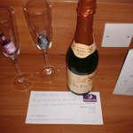 champagne and card we got given