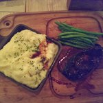 My steak, mashed potatoes and green beans.