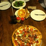 Margarita Pizza,Baked Ziti & Apple Walnut salad.