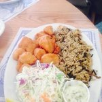 scallops w/ wild rice and coleslaw