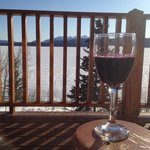 Glass of wine on the deck