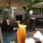 Cafe patio off the bar area - great for lunch. Mango iced tea. Great lite fare