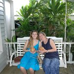 Drinking from coconuts on the porch swing