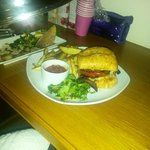 Room service - pan fried prawns and homemade burger with cheese, mushrooms, onions & roasted pep