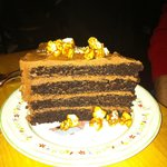Luscious chocolate cake with caramel corn!