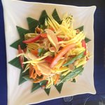 The starter - chicken and mango salad, delicious!