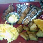 Toasted Mango French Toast Special with home fries