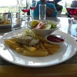 my fancy fish n chups at the restaurant