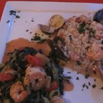 Seafood Linguini and seafood rositto