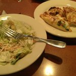 salad and pizza
