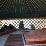inside of yurt - very comfortable and good space for two