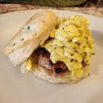 Scallion Biscuit w/Jarlsberg Cheese, Maple Sage Sausage and egg
