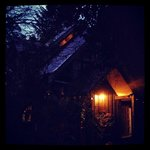 Our cabin at dusk
