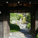 Front entrance with view of the Japanese style garden