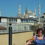 The rooftop terrace, view to the Blue Mosque.