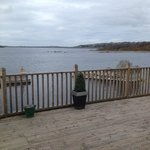 view over lough from roof deck outside room