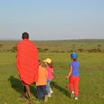 Children with William the Masai guide