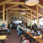 The dining area at the mid-mountain lodge
