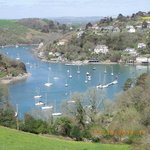 View over Noss Mayo with the Ship Inn hidden at the foot of the hill