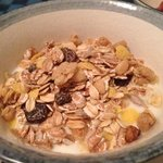 A side serving of muesli and yoghurt