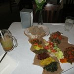 Delicious dinner-love the injera bread!