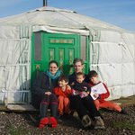outside our lovely yurt after a great nights sleep