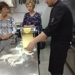 A class on pasta making with the chef from Ciampoli.