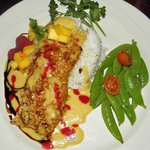 Mahi mahi with mango pineapple salsa. Seasonal special, served on Sundays