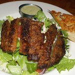 Blackened prime rib steak salad with cajun seasonings