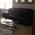 Comfy recliner, leather sofa!