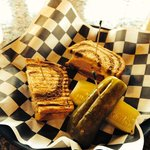 Deli special on Marble rye with big pickle as side item.