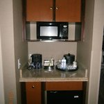 Microwave and fridge in the room
