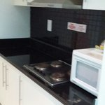Simple kitchen with amenities. Enough powdered milk, sugar & Coffee sachets for 3 drinks. They c