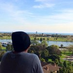 Enjoying the view of Albert Park Lake from the balcony