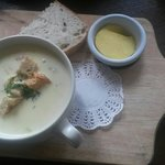 Beautiful bacon chicken and sweetcorn soup