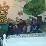 sorry the only photo I have of the room has us posing infront of it lol. but CHECK THOSE PAINING