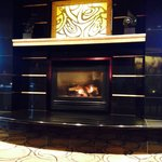 Fireplace in club lounge. One of the biggest club lounges I've been in (and there have been many