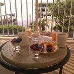 Breakfast on the hotel lounge balcony