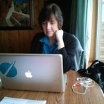 "Sitting in the ""dining space"" working on the final edit of my novel"