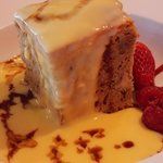 Yummy desert - Coffee & Walnut cake with custard