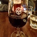 Enjoyig a glass of local red at Mountain View Restaurant