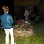 Night time bonfire is a great time to mingle with the guests.