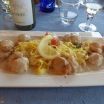 St Jacques with creamy Pineau sauce and tagliatelle