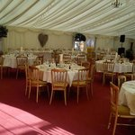 the marquee all set up for the reception