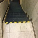 hazard tape on steps