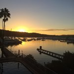Sunset over Pittwater from waterfront spa room